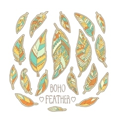 Set of hand drawn colorful feathers isolated on vector