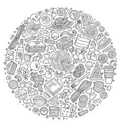 Set of italian food cartoon doodle objects vector