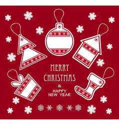 Merry christmas and new year labels in red color vector