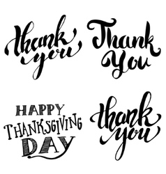 Thank you happy thanksgiving day hand drawn vector