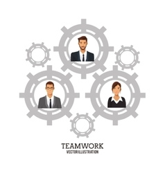 People business teamwork gears collaboration vector