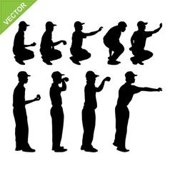 Petanque player silhouettes vector