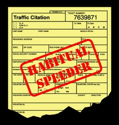 Speeding ticket vector