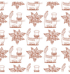 Seamless pattern with cat and hops vector