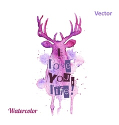 Watercolor deer head with inscriptions on the vector image