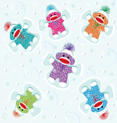 sock monkey babies snow angels vector image