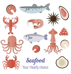 Set of seafood products vector