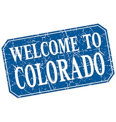 Welcome to colorado blue square grunge stamp vector