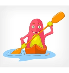 Funny monster kayaker vector