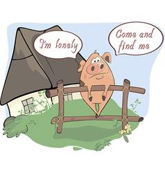 A little sad pig comics vector