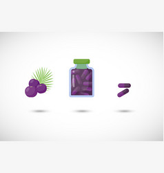 acai berries capsules flat icon set vector image