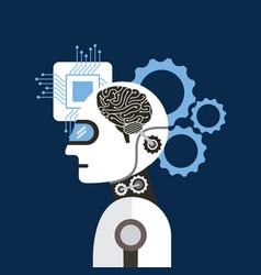 artificial intelligence brain process gear vector image