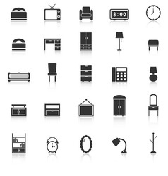 Bedroom icons with reflect on white background vector image vector image