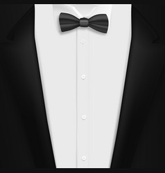 black suit with bowtie realistic mens tuxedo suit vector image vector image