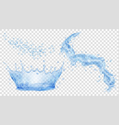 blue water crown drops and splash of water vector image vector image