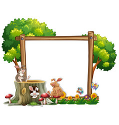 border template with two bunnies vector image vector image