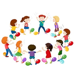 Children playing game of balloon popping vector image