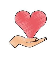 Color pencil image hand holding a heart vector