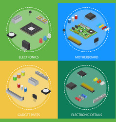 computer electronic circuit board component poster vector image