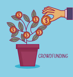 Crowdfunding hand pot tree coins dollar business vector