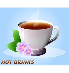 Cup of hot drink with flowers tea coffee etc vector
