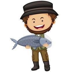 Fisherman holding raw fish vector