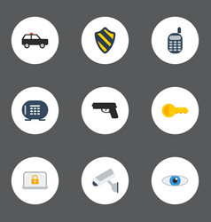 Flat icons walkie-talkie safe gun and other vector