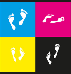 Foot prints sign white icon with vector