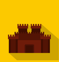 fortress with gate icon flat style vector image vector image