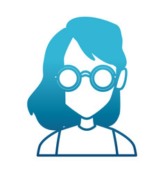 geek girl with round frame glasses vector image