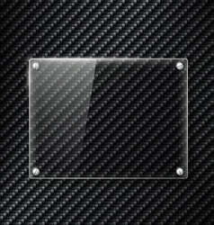 Glass signboard on the surface of carbon fiber vector image