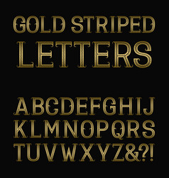 golden striped letters with flourishes diagonal vector image