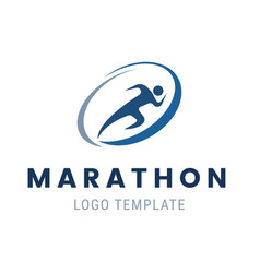 marathon run logo template run man symbol vector image