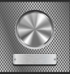 metal round button on stainless steel perforated vector image