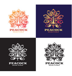 Peacock set logo design vector