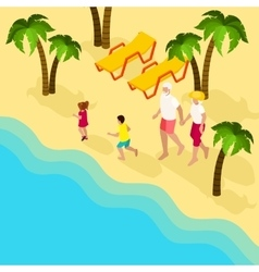 Retired people family vacation isometric banner vector