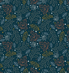 Seamless hand drawn leaves pattern vector image vector image