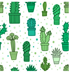 seamless pattern of lovely green cacti and vector image vector image