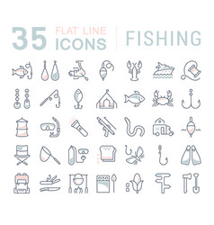 Set flat line icons fishing vector