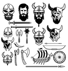 Set of vikings icons vikings weapon ship helmets vector