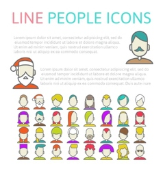 set user line icons vector image