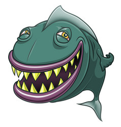 Smiling happy cartoon fish isolated on white vector