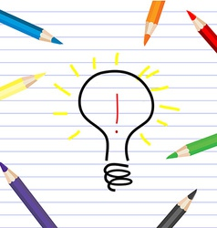 Stylized bulb sketching on a white sheet with vector image vector image