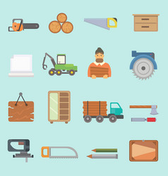 Timber forest lumbering production icons vector