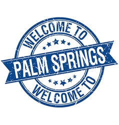 Welcome to palm springs blue round ribbon stamp vector