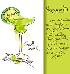 With margarita cocktail vector