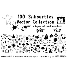 100 funny cartoon silhouettes vector image vector image