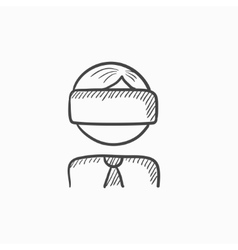 Man wearing virtual reality headset sketch icon vector