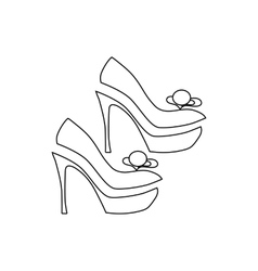 Elegant women high heel shoe icon outline style vector image