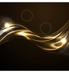 Golden liquid smooth waves on black background vector